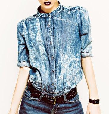 Denim stylish clothes. Glamorous lady fashion trends