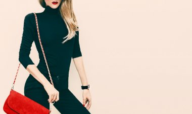 Beautiful blond model classic black style with red fashionable c