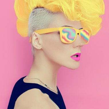 Vanilla disco punk style. glamorous lady party