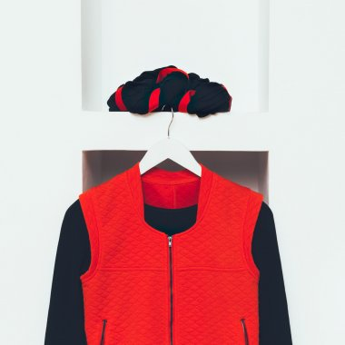 Fashionable Clothing. Black and red colors in style. Fashion wom
