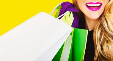 Happy fashion lady with shopping. time sales