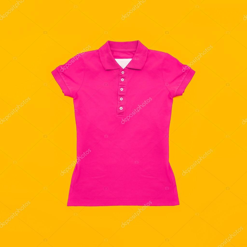 Bright Crimson Polo Shirt On Yellow Background Fashion Bright S