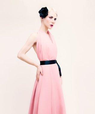 Sensual lady portrait. Dress and black fashion accessories.