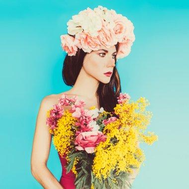 Sensual fashion lady. Flowers, Spring, Romance, March 8