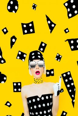 Funny Lady polka dot. Emotions, surprise, Disco style.