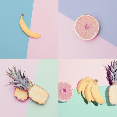 Fashion Vanilla colors fruit set. minimal Style