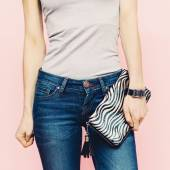 Photo Girl with clutch Casual style.Stylish Accessories