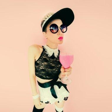 Funny girl waitress. Glamorous party style