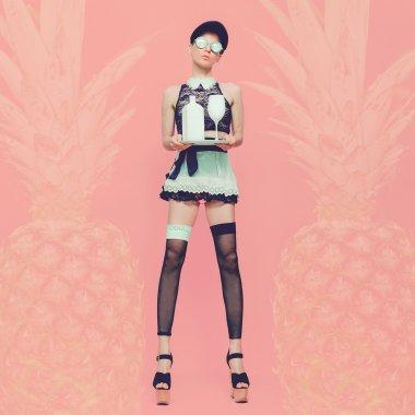 Sexy lady waitress. Glamorous party style vanilla pineapple back