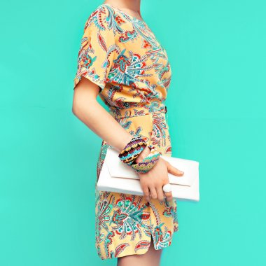Fashion lady. Beach style. Clothing for vacations. Dress with st