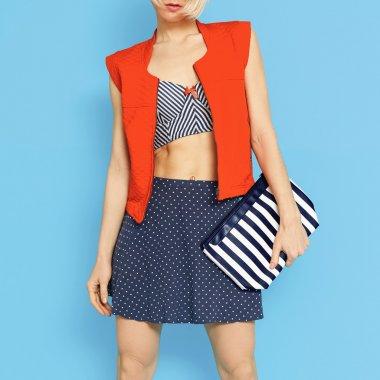 Marine fashion style. Glamorous Lady on blue background.