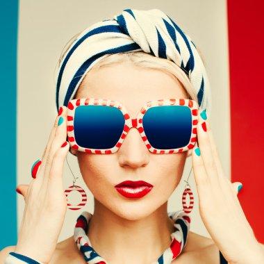 Glamour model. Marine style. Summer fashion