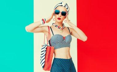 Happy vacation lady. Marine style fashion