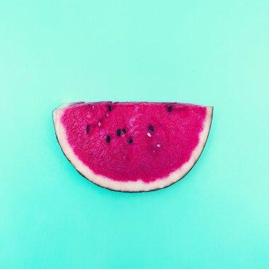 Piece of Watermelon. Vanilla Fruit. Minimal style