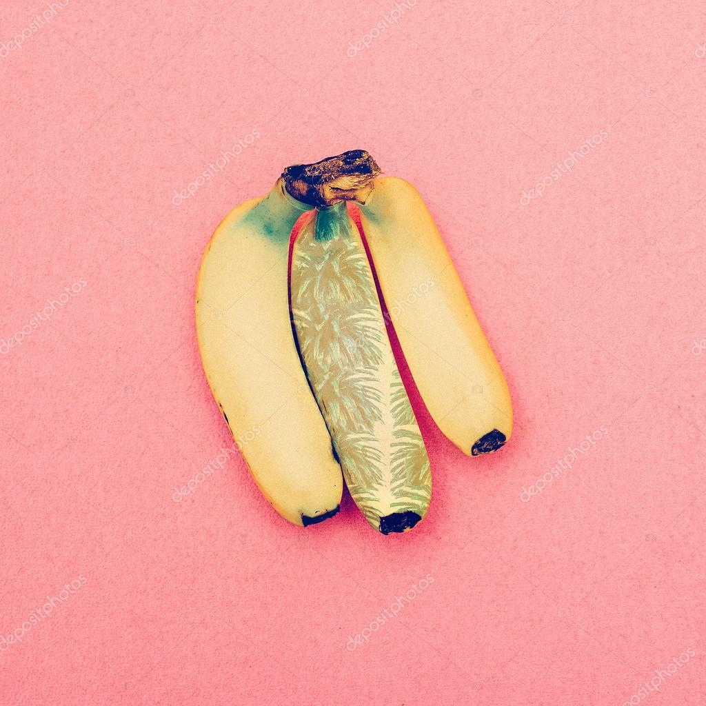 Bananas with palm print. Minimal fashion style