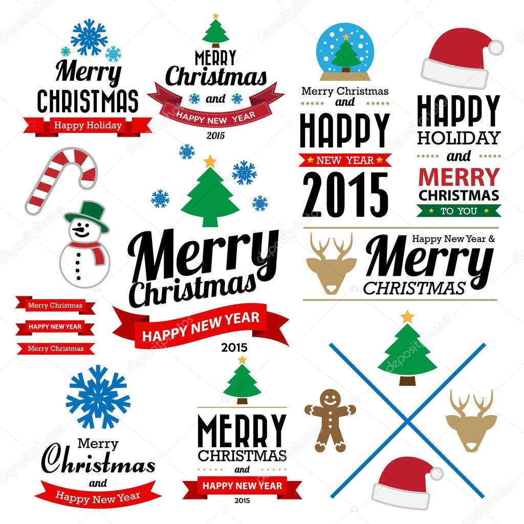 e308249bfa9ae Christmas and Happy new year collection of calligraphic and typo– stock  illustration