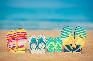 Flip-flops on sandy beach