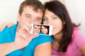 Couple in love taking selfie