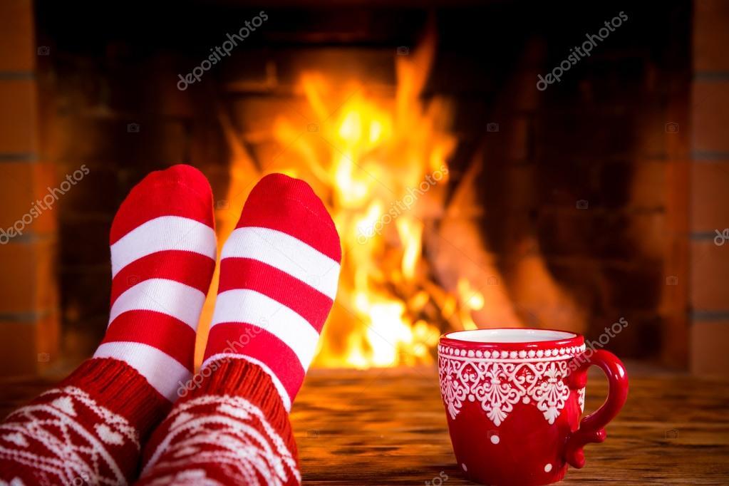 Christmas near fireplace