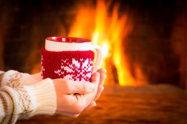 Woman hands holding Christmas cup near fireplace. Winter holiday concept stock vector