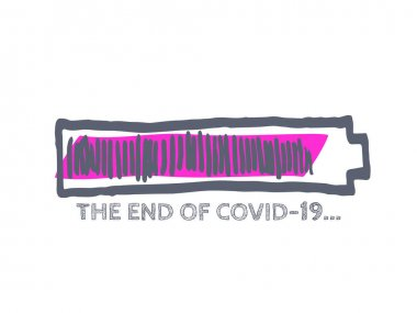 The End of Coronavirus Progress Bar Status.  COVID-19 Vector Hand Drawn Loader. Quarantine Illustration. Infographic Element with 90% Complete Indicator. Website Sketch Bar with Adjustable Fill Part. icon
