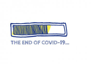 The End of Coronavirus Progress Bar Status.  Website Sketch Bar with Adjustable Fill Part. COVID-19 Vector Hand Drawn Loader. Quarantine Illustration. Infographic Element with 90% Complete Indicator. icon