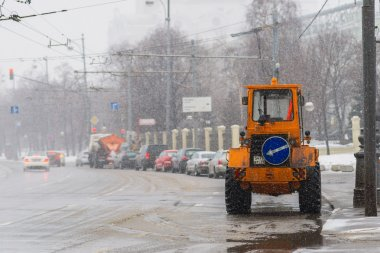 Road service tractor on Prechistenskaya embanknment