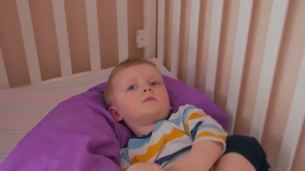 Boy With Toy In Bed