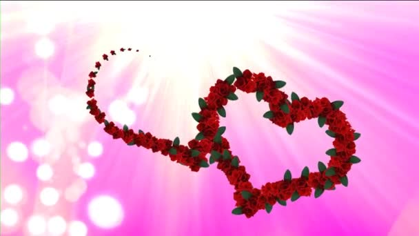 Hearts footage with pink background. Pink footage for wedding video or intro with title. Spring video background with animated flowers hearts. Animated footage background for films or greeting cards.