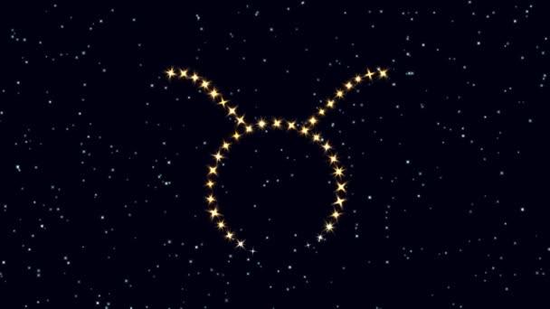 Sternzeichen der Astrologie. Sternzeichen Stier. Schöne Astrologie-Video-Hintergrundaufnahmen unterzeichnen taurus für Intro und Titel Footage Stock Video. taurus sign zodiak video screensaver hintergrund.
