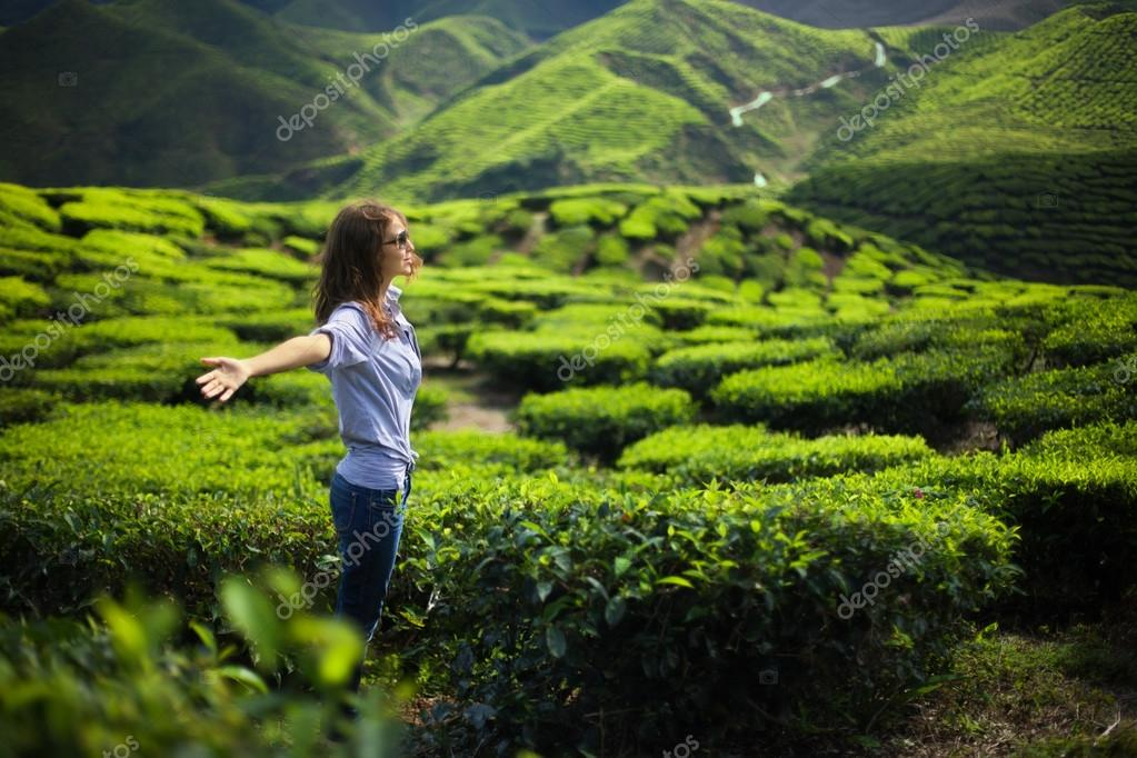 Woman with open arms on tea plantation