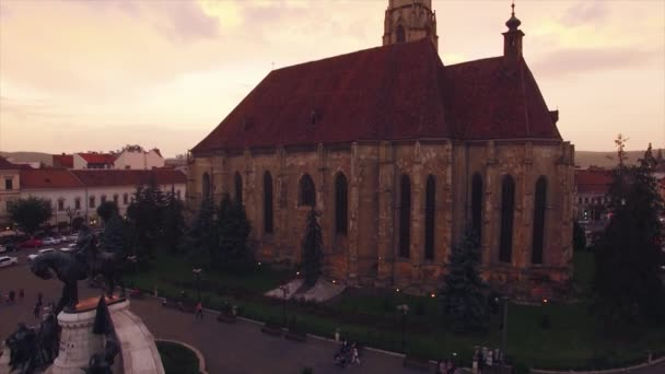 Aerial view of gothic style church in the city, Cluj Napoca