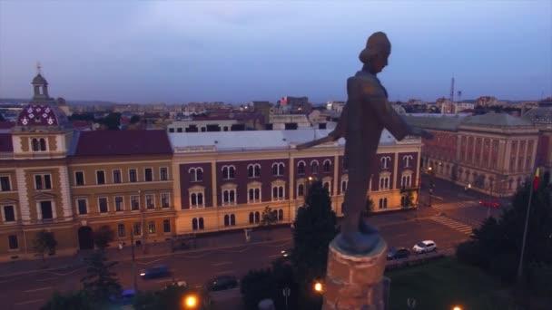 Aerial view of Avram Iancu statue, Cluj Napoca