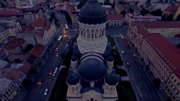 Vertical aerial view of cathedral in the city, Cluj Napoca