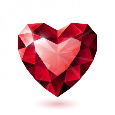 Shiny red ruby heart shape