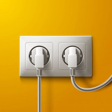 Realistic electric socket and 2 plugs