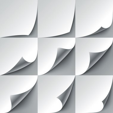Set of 9 paper curled corners