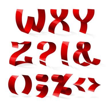 shiny ribbon font W-Z letters
