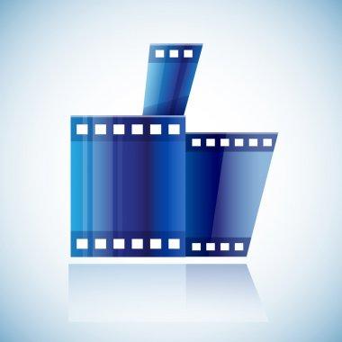 Curled blue cinema tape film