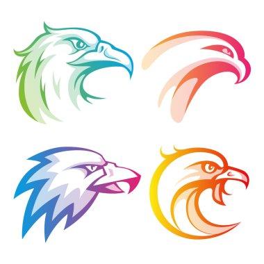 Colorful eagle head logos