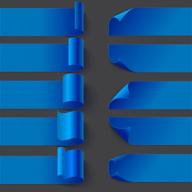 Curled blue ribbon paper banners