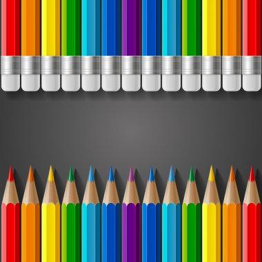 Rows of rainbow colored pencils