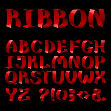 shiny ribbon font alphabet