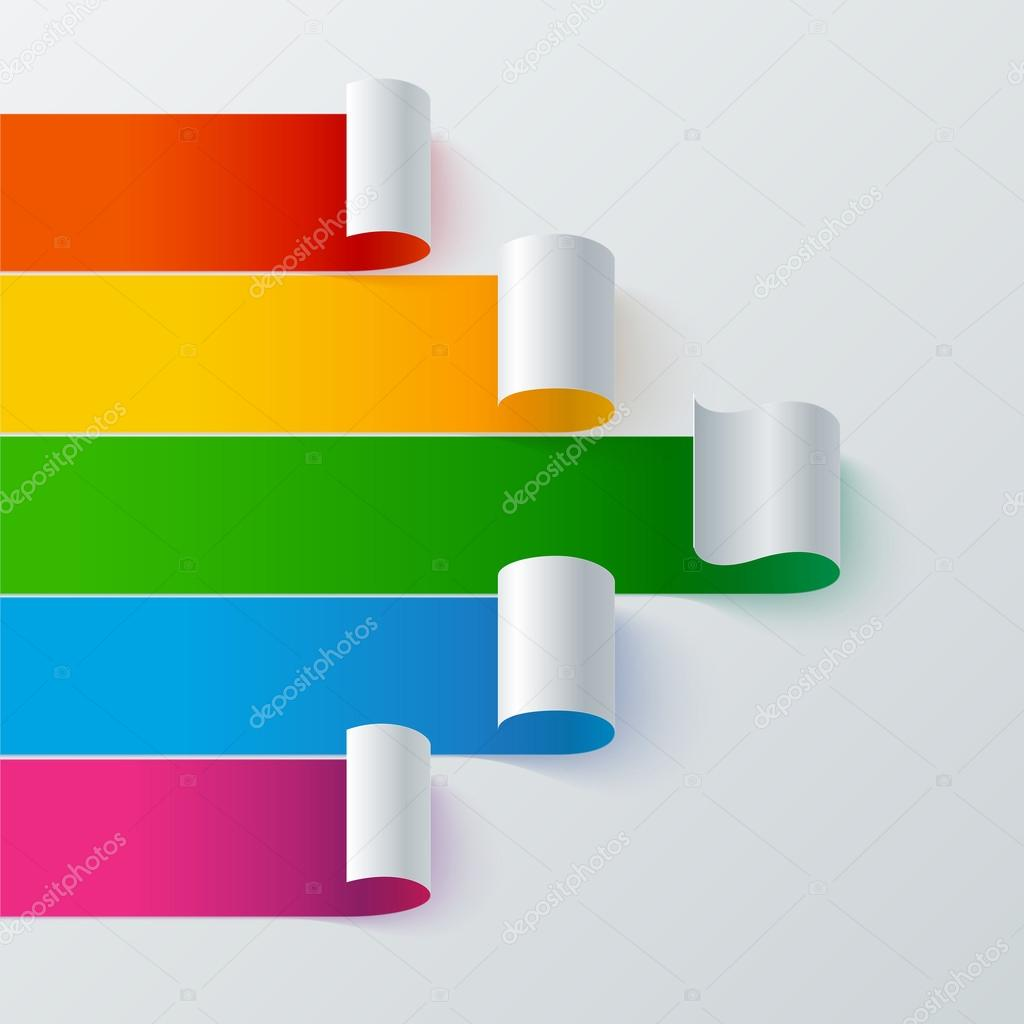 Curled colorful paper stripe banners