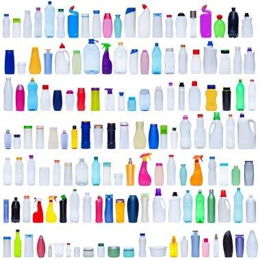 Large set of plastic bottles