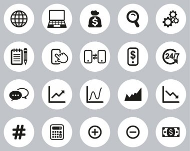 Stock Market Or Stock Exchange Icons Black & White Flat Design Circle Set Big icon