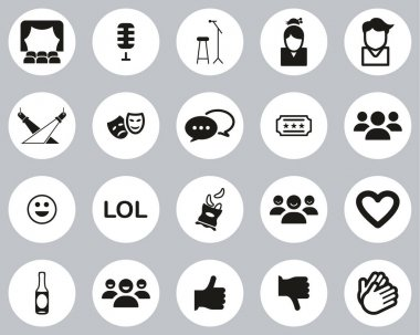 Stand Up Comedy Or Stand Up Show Icons Black & White Flat Design Circle Set Big icon