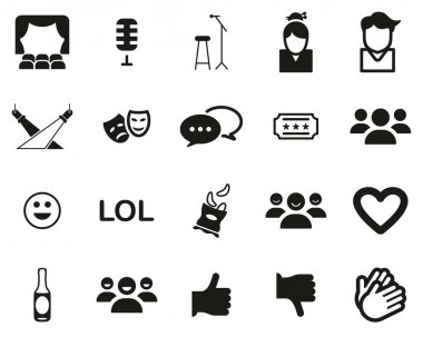 Stand Up Comedy Or Stand Up Show Icons Black & White Set Big icon