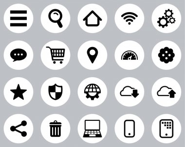 Search Engine Or User Interface Icons Black & White Flat Design Circle Set Big icon