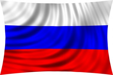 Flag of Russia waving in wind isolated on white